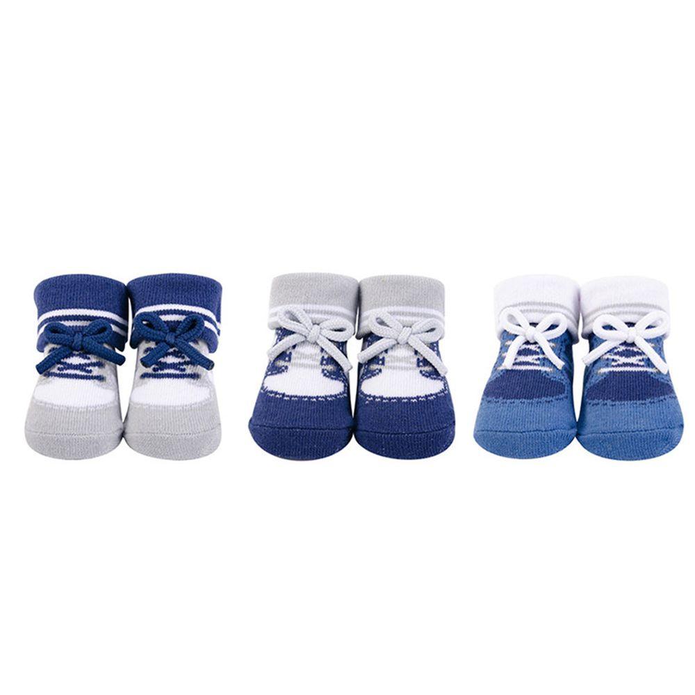 美國 Luvable Friends - 嬰兒襪/寶寶襪/初生襪 3入組-綁帶假鞋襪 (0-9M)