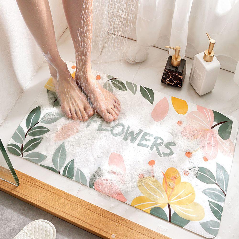 浴室超強吸力止滑腳踏墊-粉黃小花 (40x70cm)