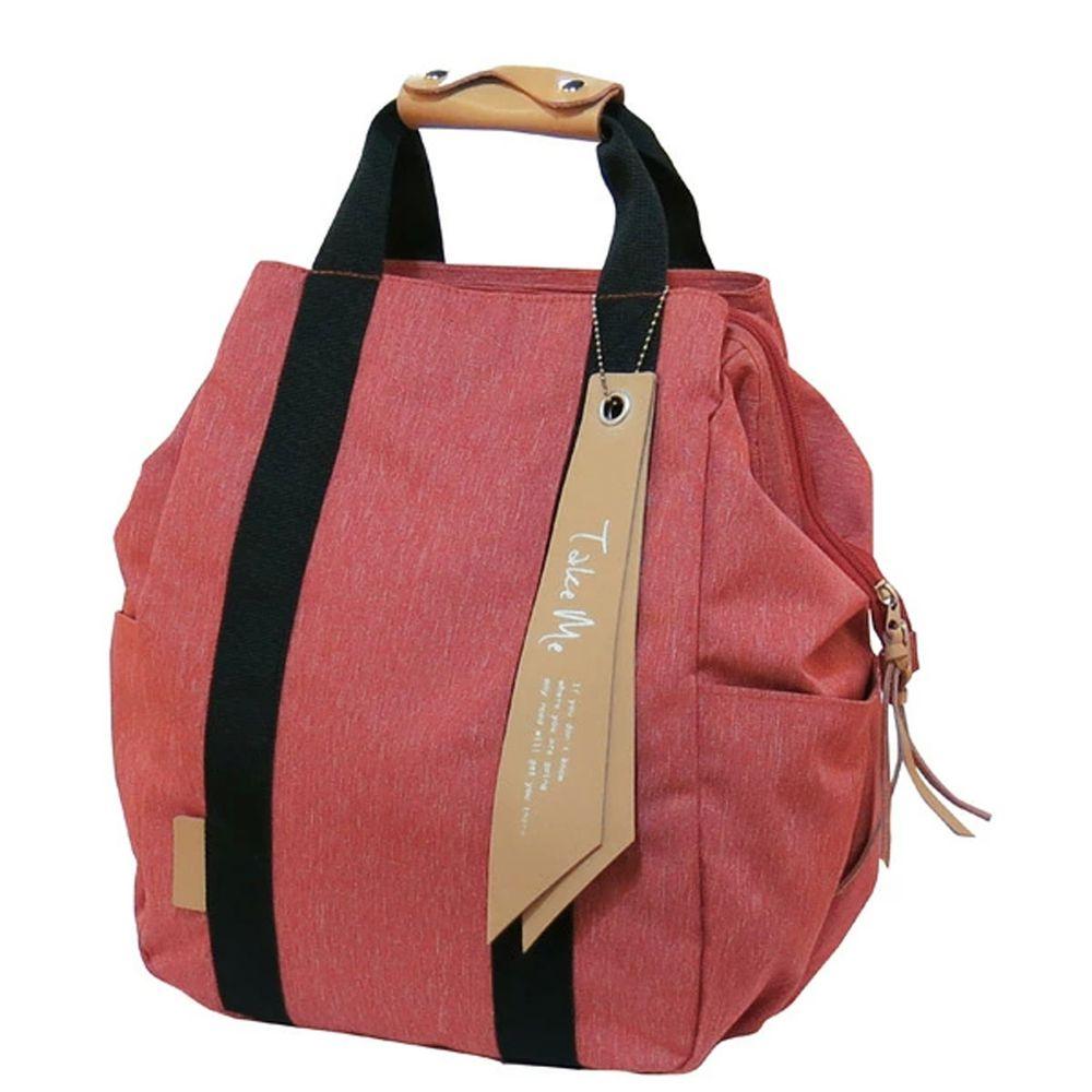 日本 nicott - 文青風 輕量 大開口多功能後背包/媽媽包-活力紅 (36x24x14.5cm)