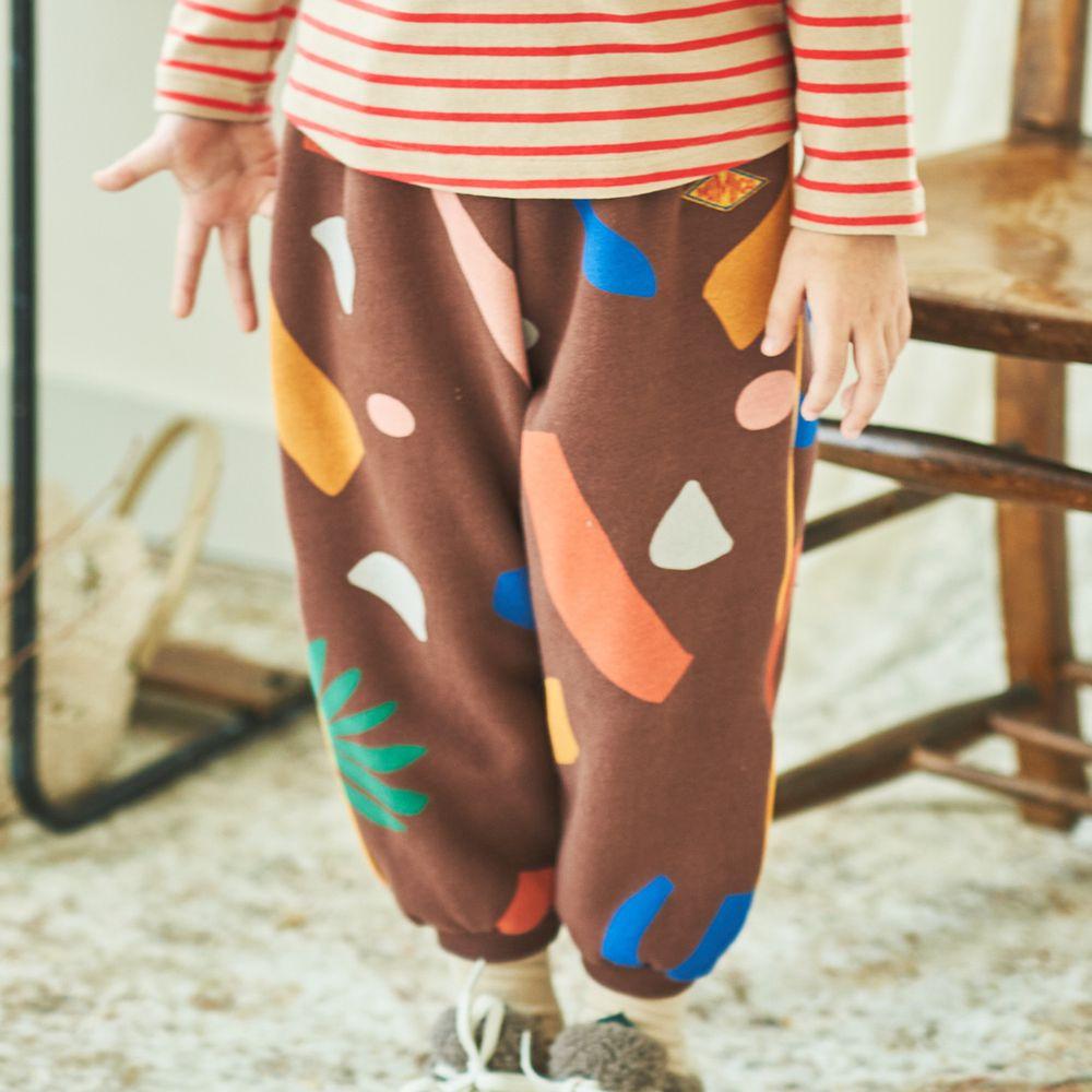 韓國 Mimico - (裏起毛)彩色石頭長褲-咖啡