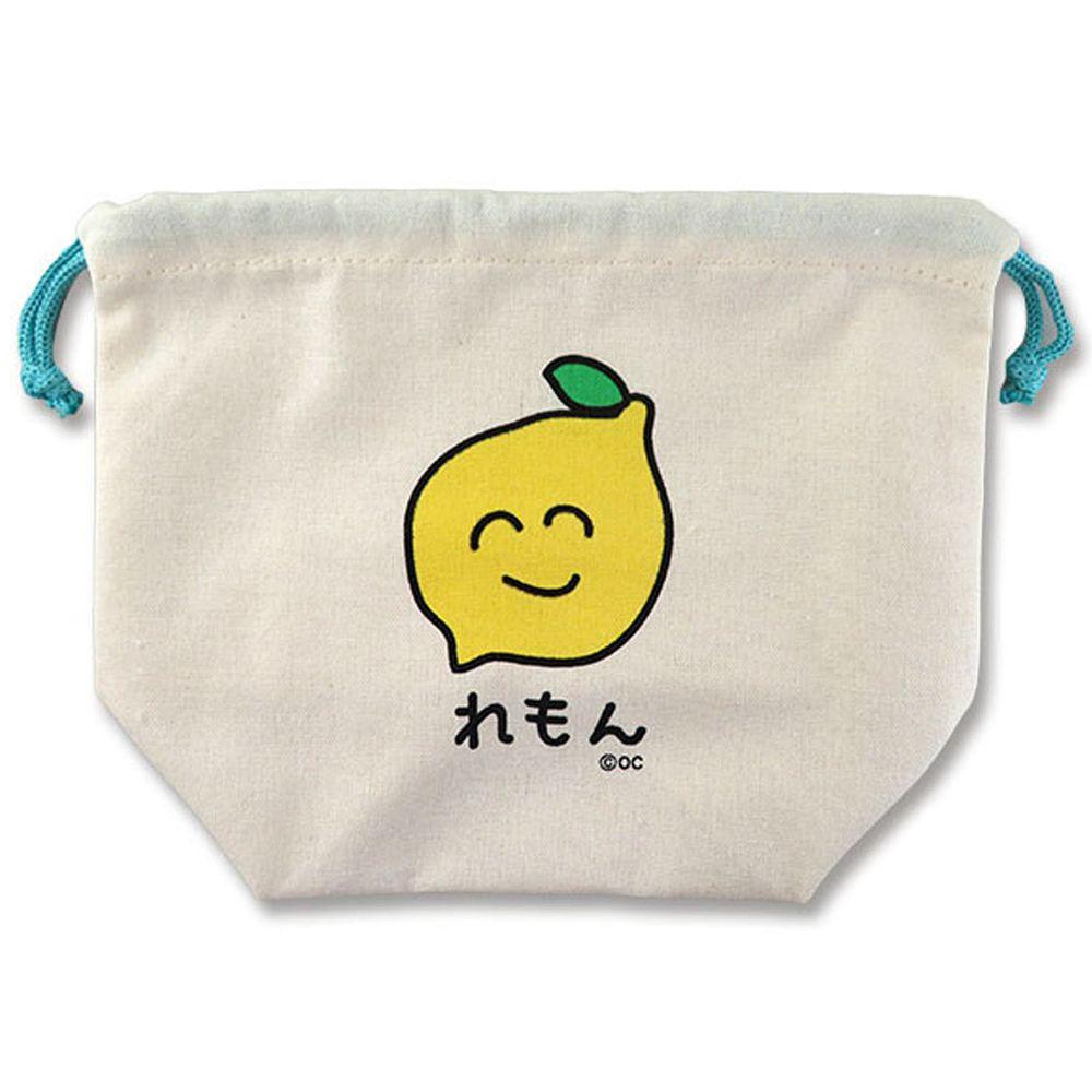 日本 OKUTANI - 童趣插畫純棉收納束口袋-檸檬-藍綠 (21x17x9cm)