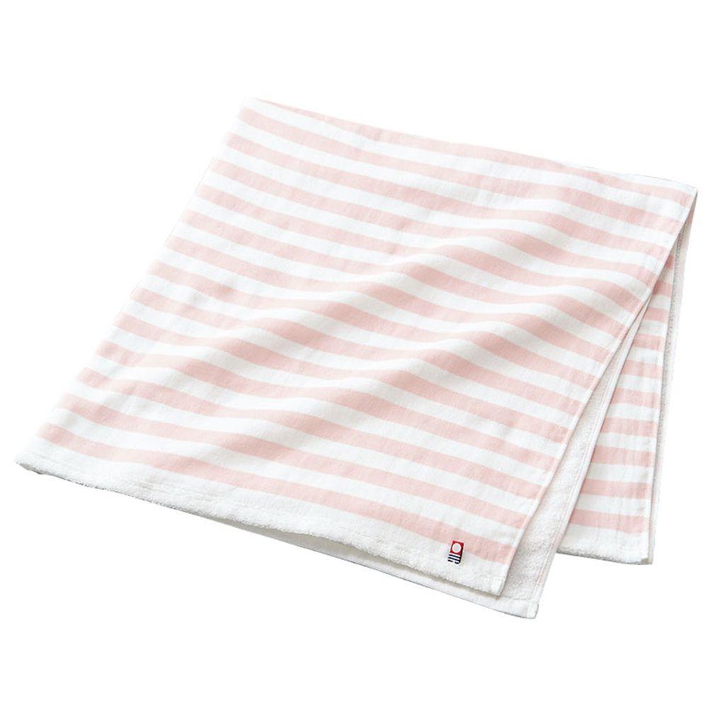 akachan honpo - 今治無捻浴巾 棉紗・正方形-橫紋-粉紅色 (85×85cm)