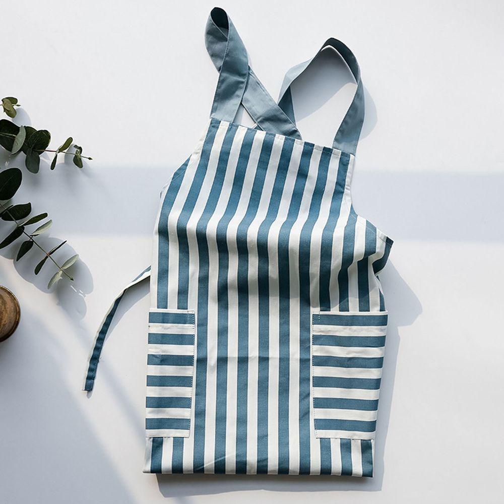 日系清新風圍裙-條紋-淺藍色