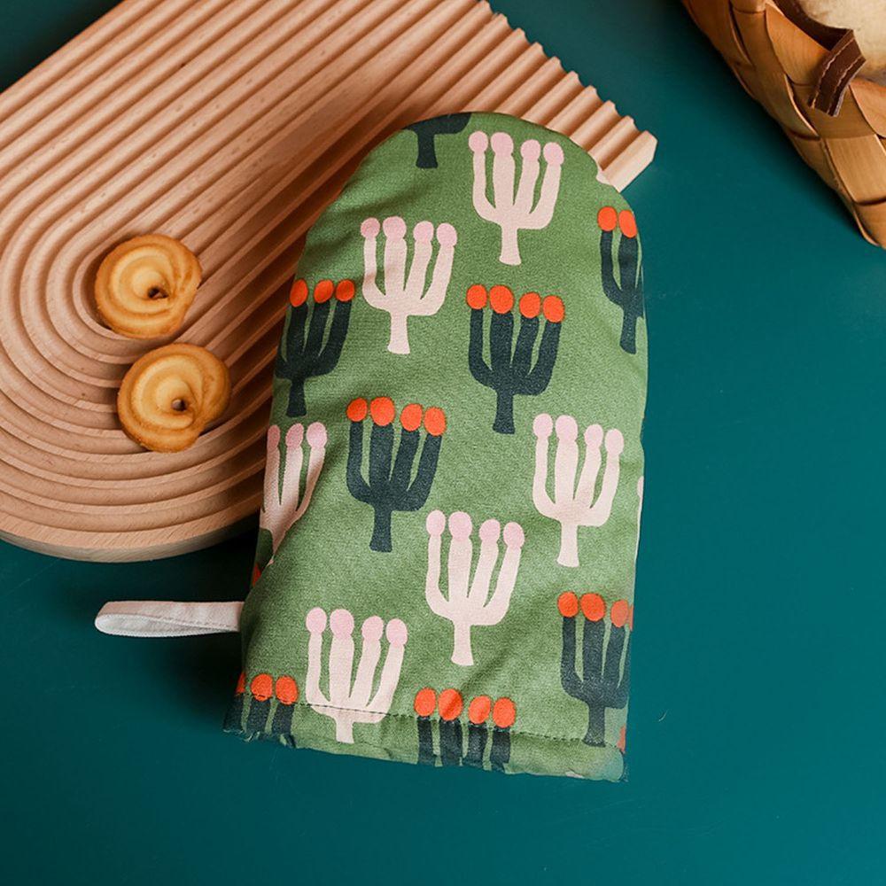 可愛文藝風隔熱手套-綠色-單入