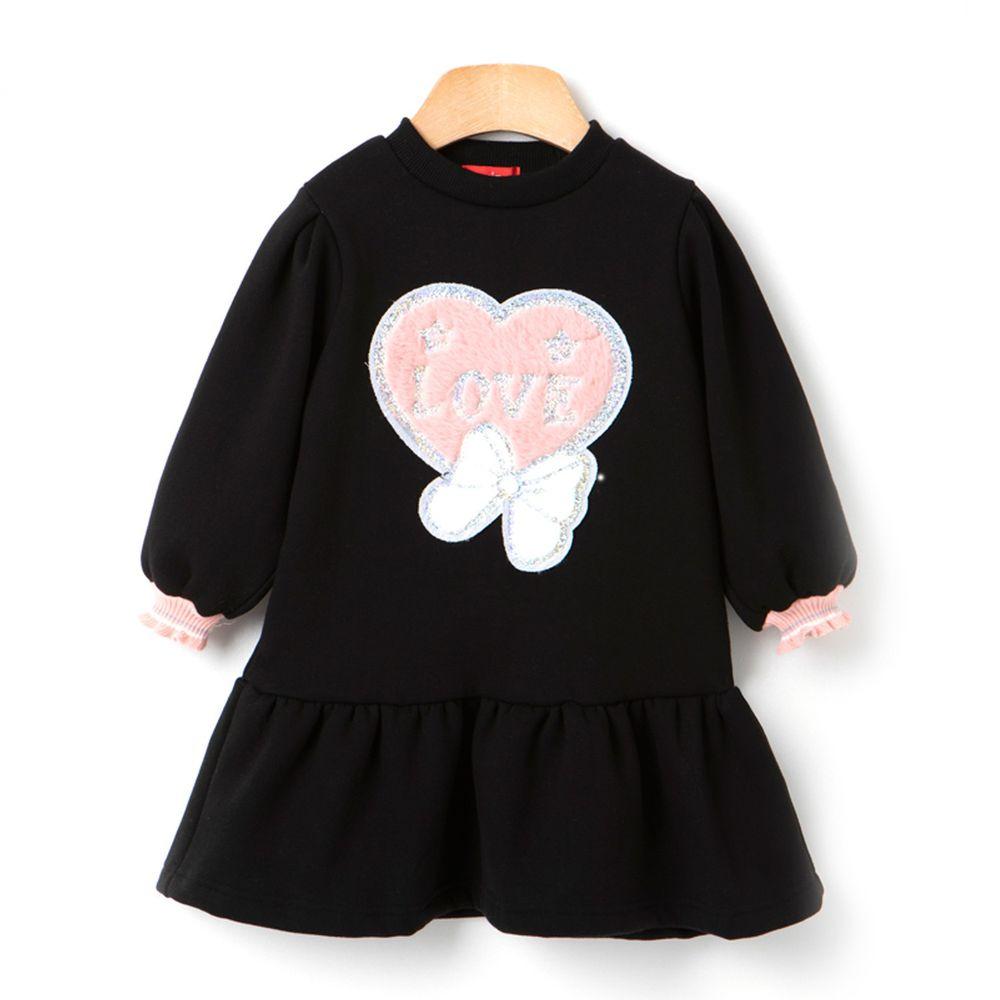 韓國 OZKIZ - 愛心蝴蝶結洋裝-黑