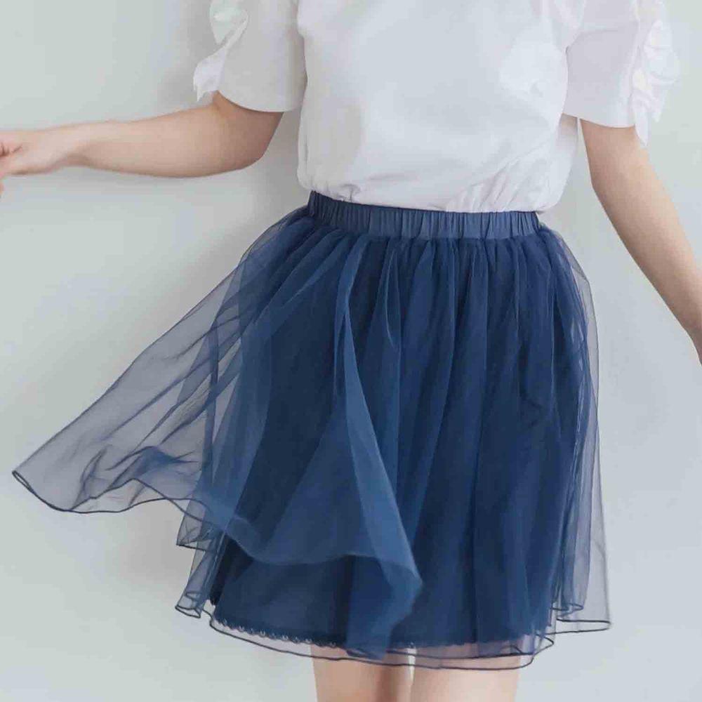 Peachy - 獨家訂製綿柔空氣紗裙-短裙款-午夜藍 (F)