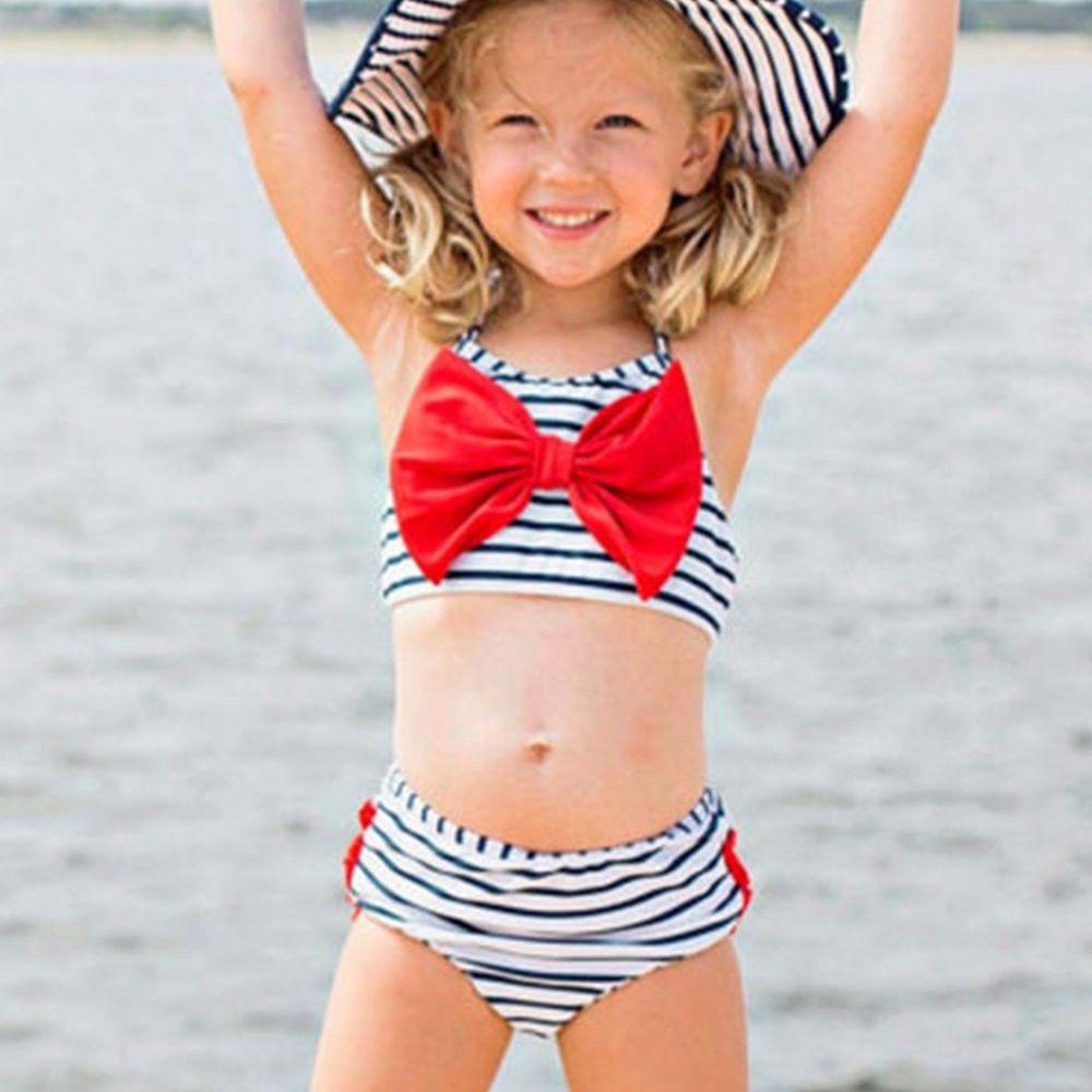 美國 RuffleButts - 小女童無袖比基尼泳裝-紅蝴蝶結條紋