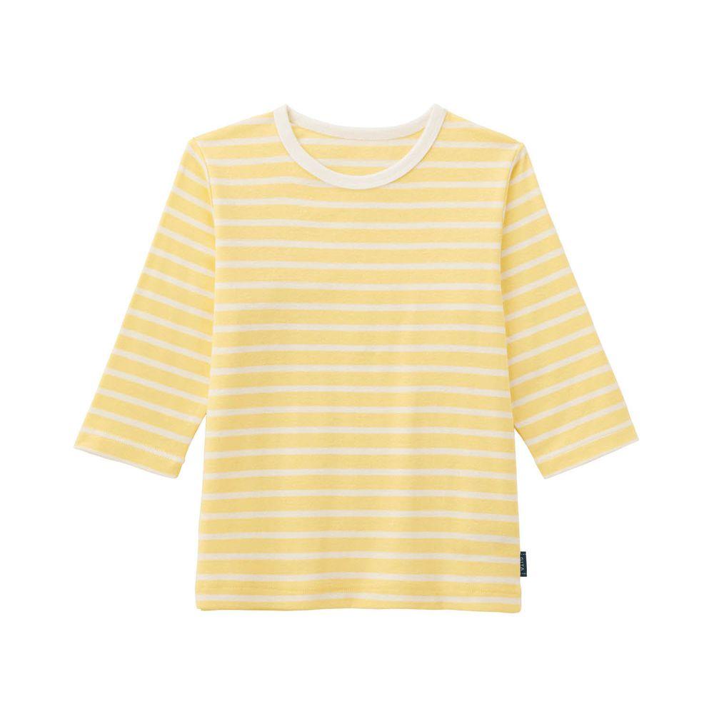 日本千趣會 - GITA 純棉輕薄舒適七分袖T-橫條紋-黃