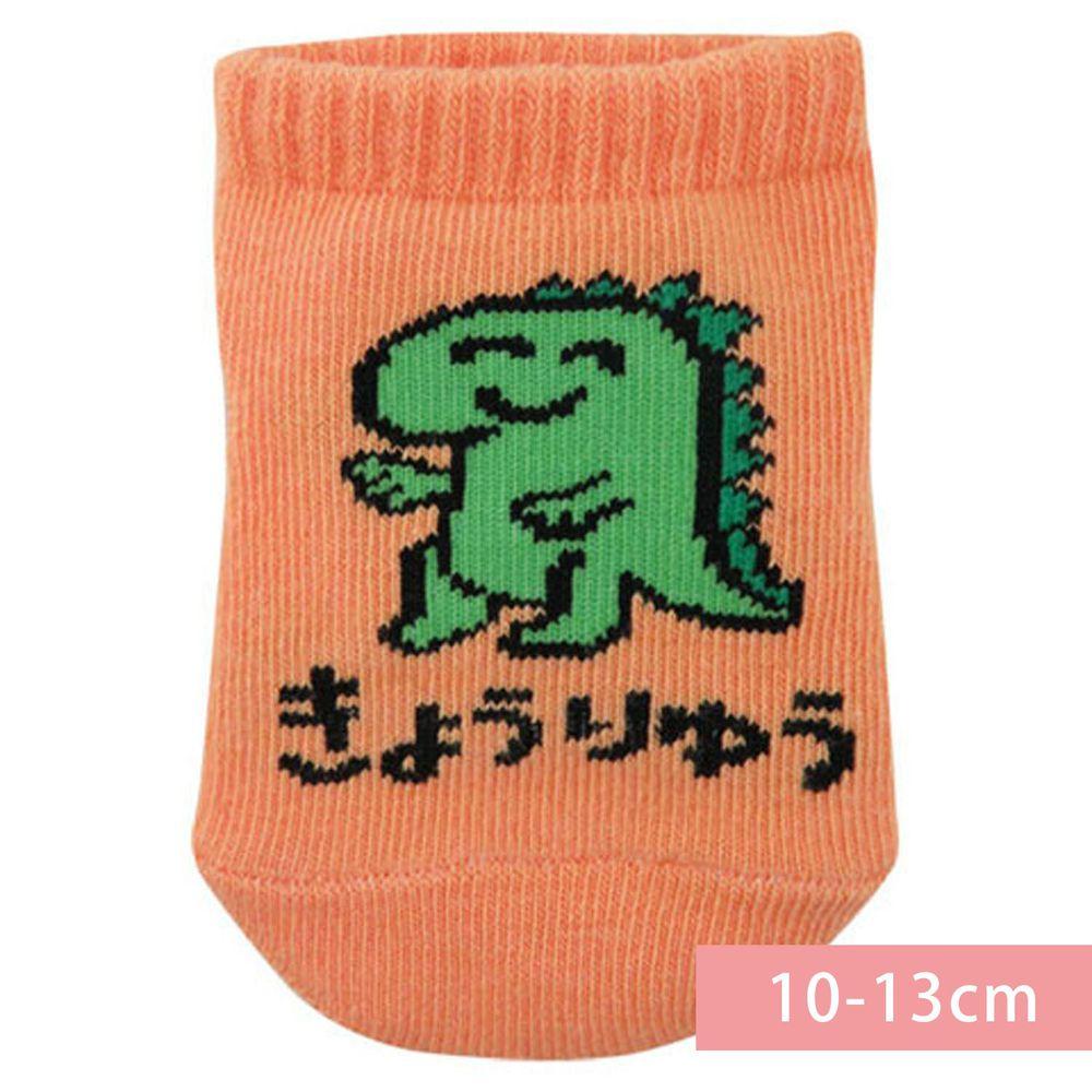 日本 OKUTANI - 童趣日文插畫短襪-恐龍-橘 (10-13cm(1-3y))
