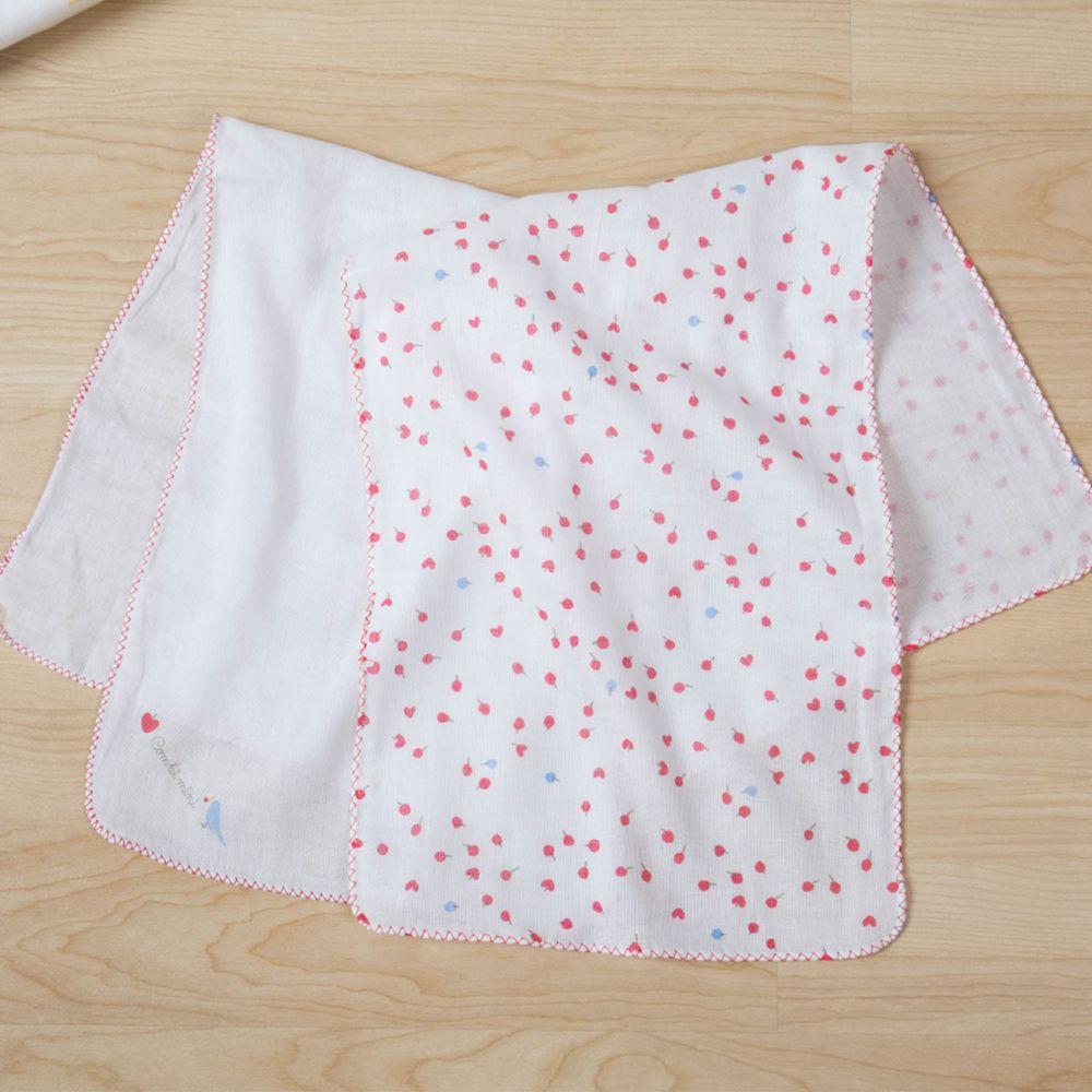 日本 Combi - 純棉紗布澡巾2入-愛心 (F (23.5x70cm))