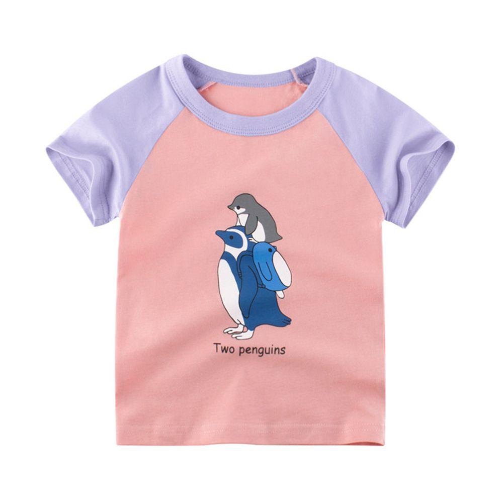 純棉短袖上衣-兩隻企鵝-粉紅/淺紫