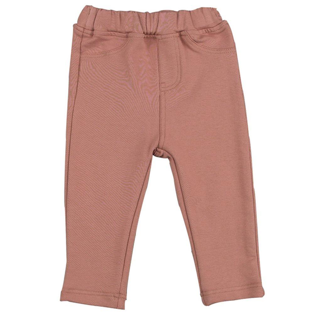 akachan honpo - 10分彈性長褲-素面-粉紅色