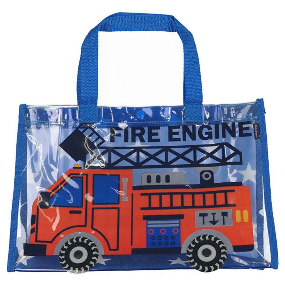 日本服飾代購 - 防水PVC游泳包(雙面圖案設計)-消防車-藍星星 (25x36x13cm)
