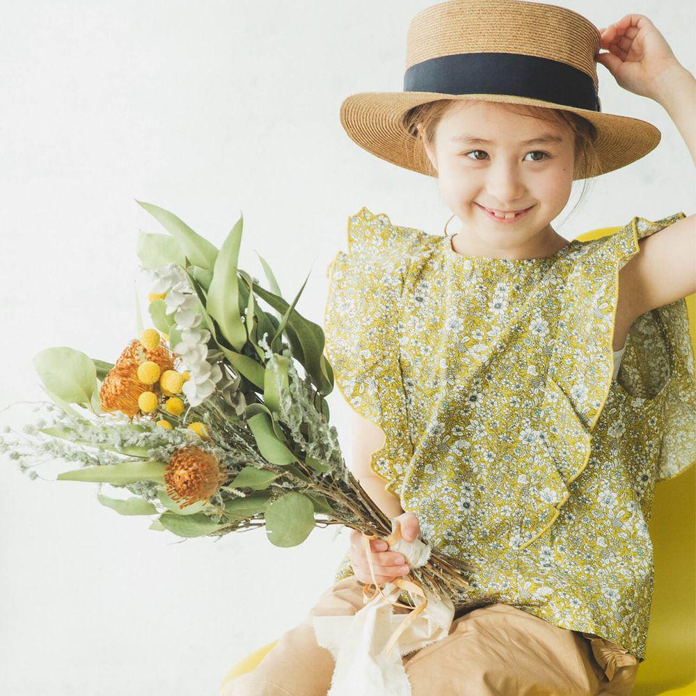 日本 PAIRMANON - 純棉華麗超大荷葉無袖上衣-碎花-黃