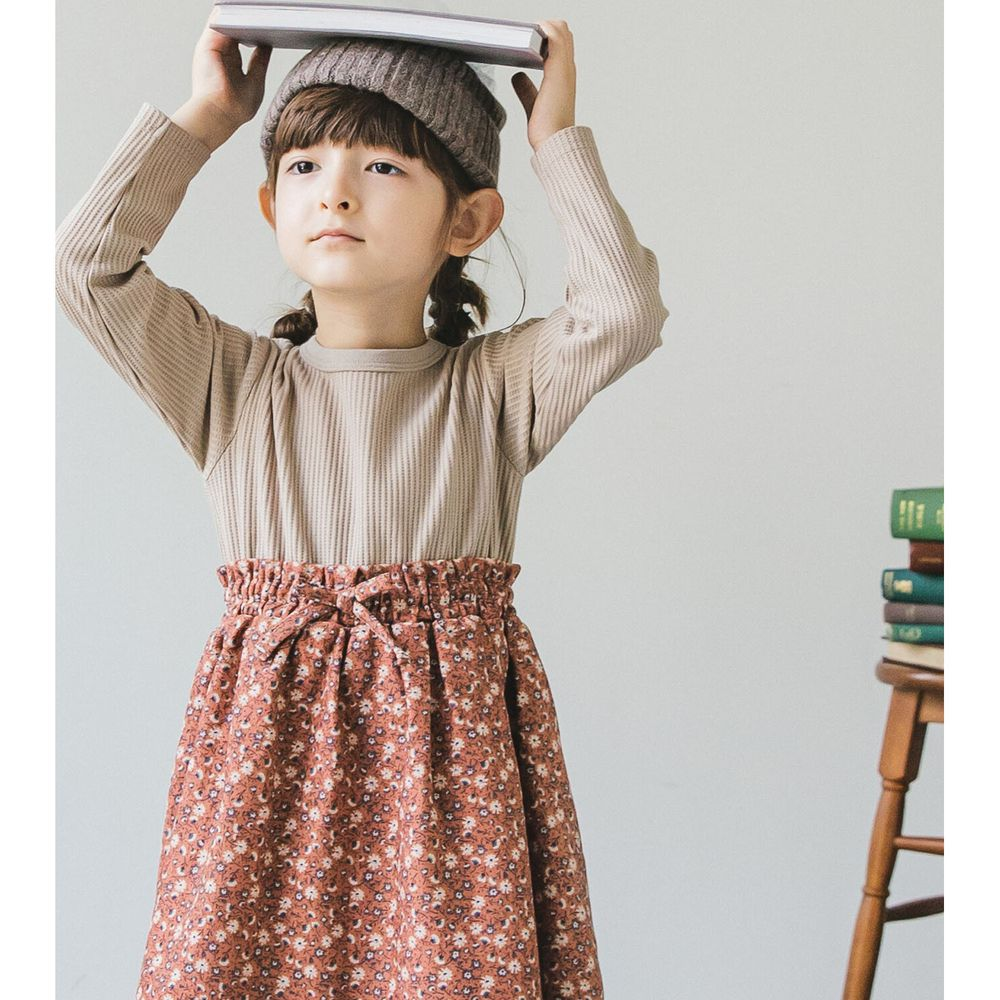 日本 PAIRMANON - 上下拼接鬆餅紋長袖洋裝-碎花-杏X咖啡