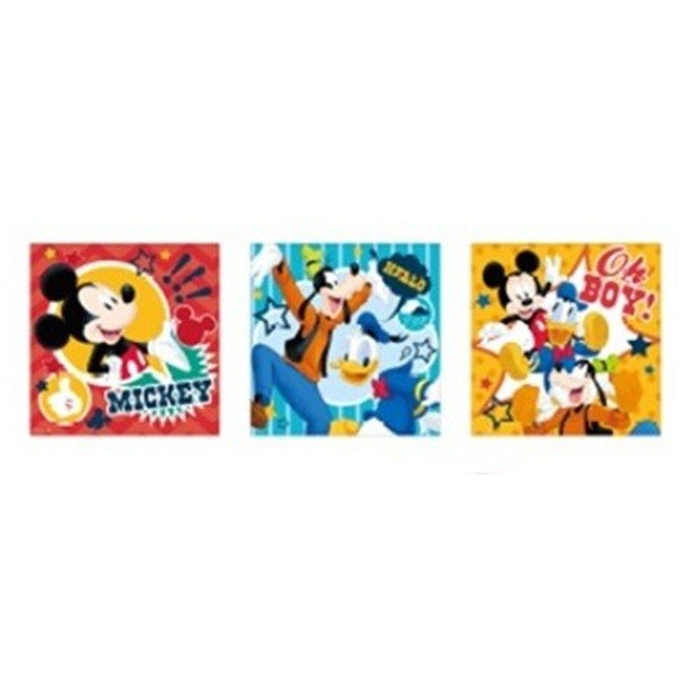 日本代購 - 卡通方形手帕三件組-歡樂米奇好友 (30x30cm)