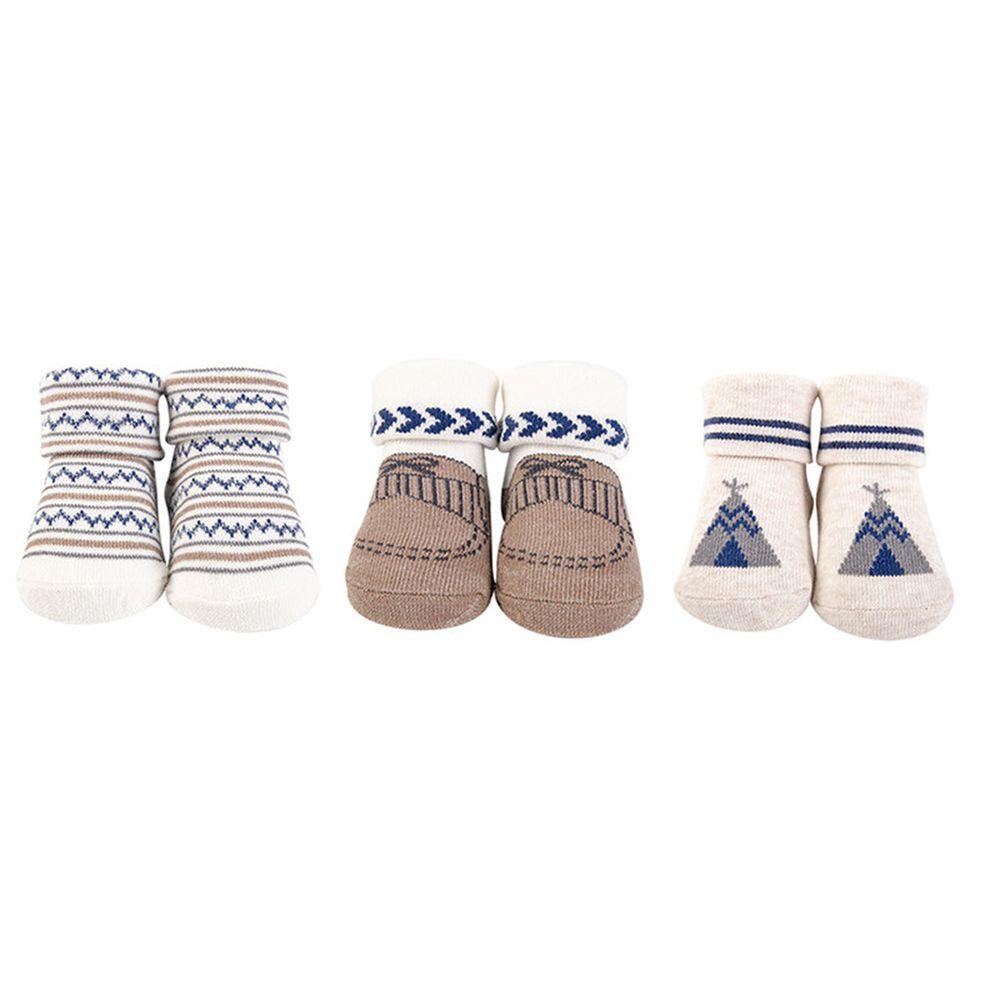 美國 Luvable Friends - 嬰兒襪/寶寶襪/初生襪 3入組-蒙古包 (0-9M)