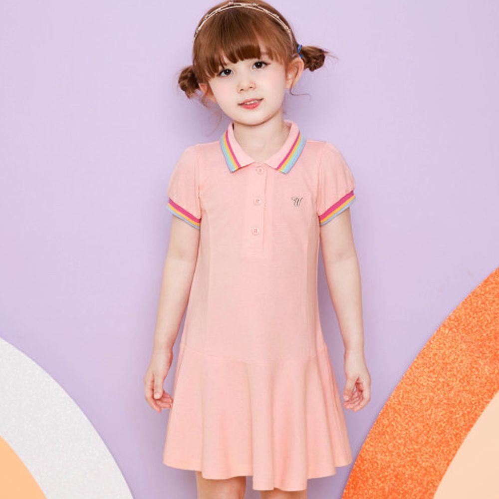 韓國 WALTON kids - 網球風魚尾洋裝-蜜桃粉
