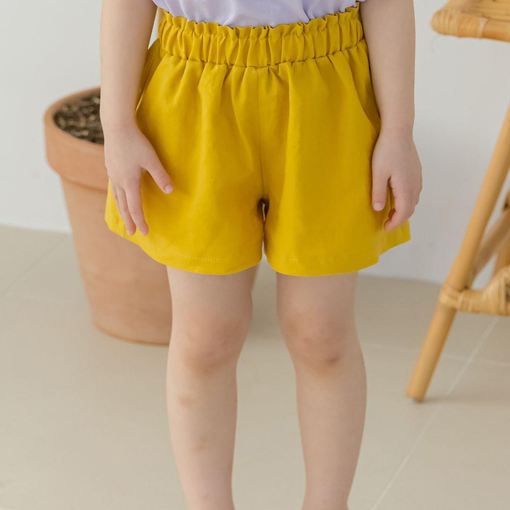 韓國 Orange Mom - 鬆緊褲頭舒適小短褲-芥末黃