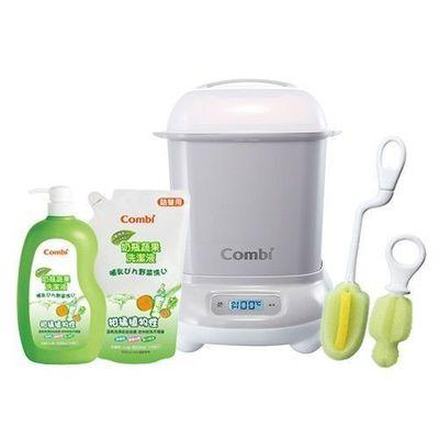 Pro 高效消毒烘乾鍋-超值優惠組 D-寧靜灰-消毒鍋+刷具組+奶蔬一瓶兩補