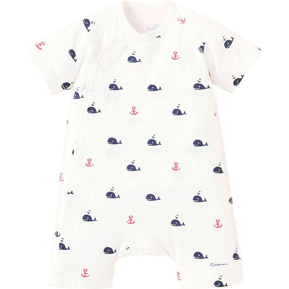 日本 Combi - mini系列-短袖連身衣-鯨魚/白 (60-70)
