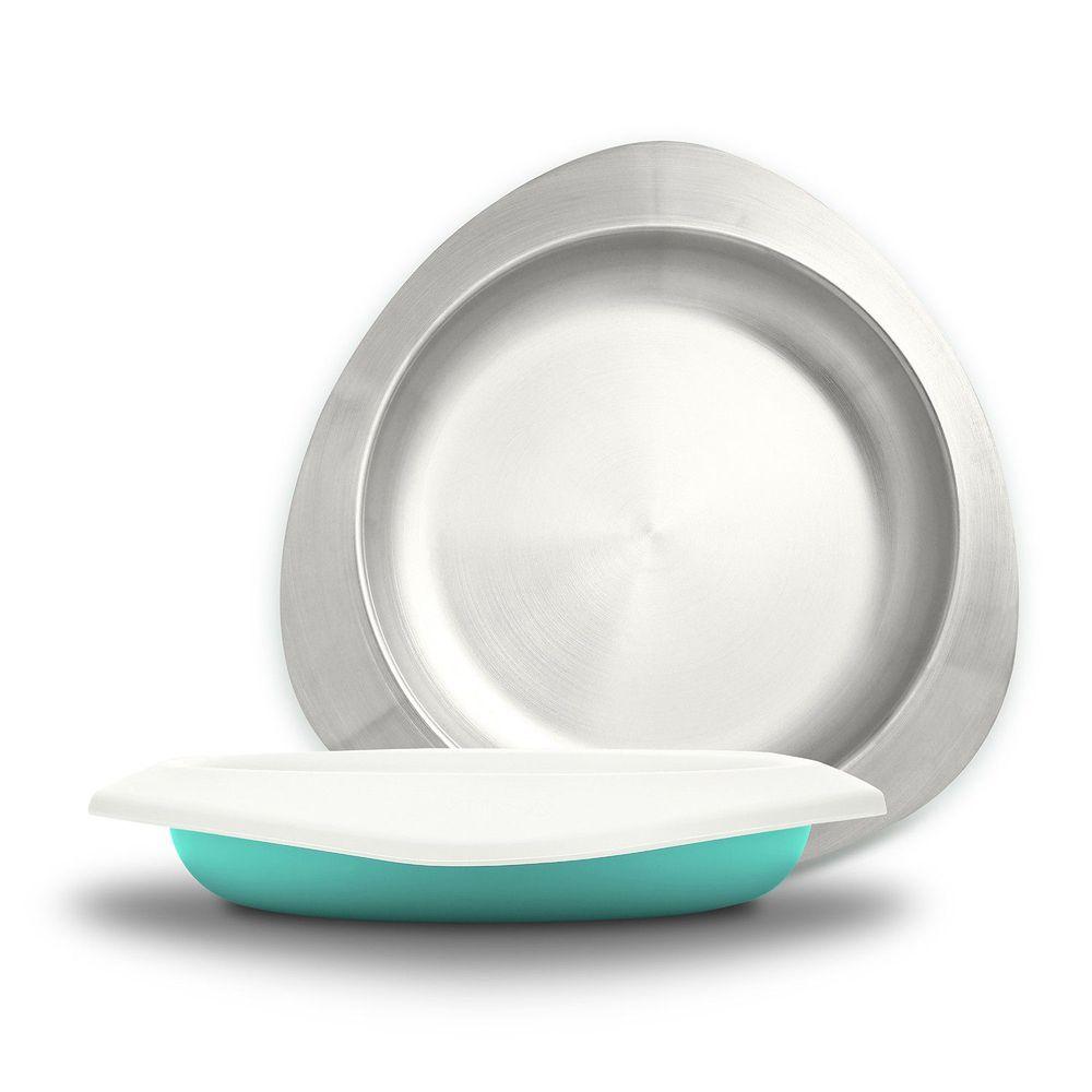 VIIDA - Soufflé抗菌不鏽鋼兒童餐盤-餐盤-綠