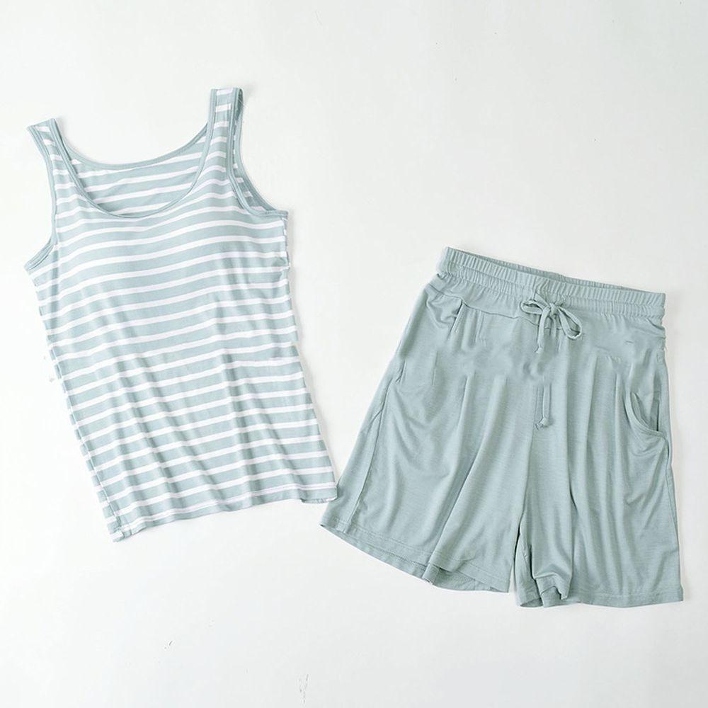 莫代爾柔軟涼感Bra T-背心款套裝-薄荷綠條紋