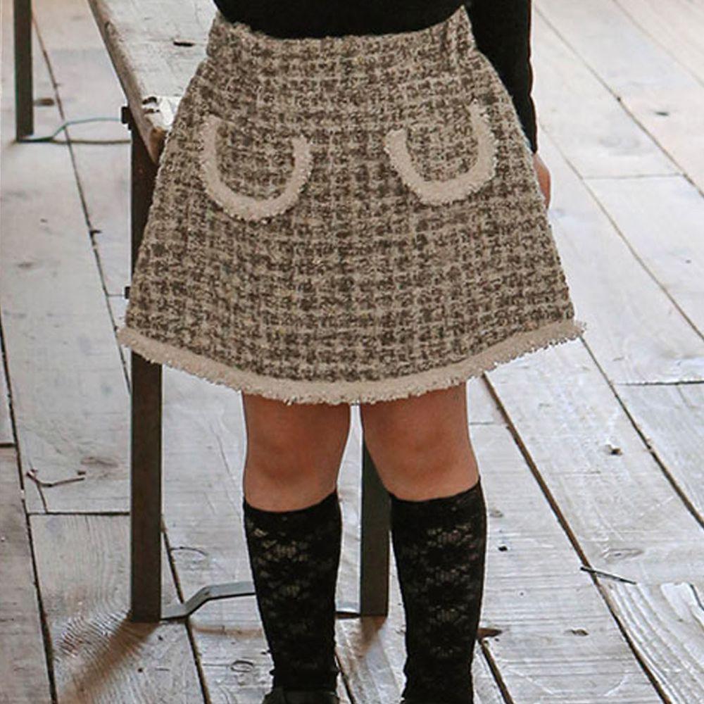 韓國 Puellaflo - 格子花呢布短裙-灰