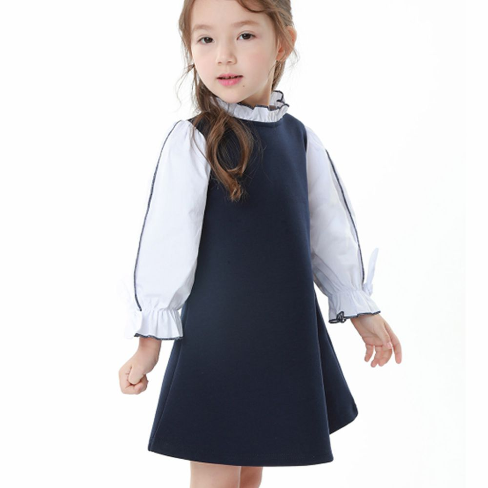 韓國 OZKIZ - 假兩件學院風氣質洋裝