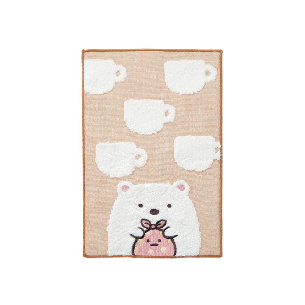 日本千趣會 - 角落生物 質感雙材質毛巾手帕-白熊咖啡杯-褐 (15x24cm)