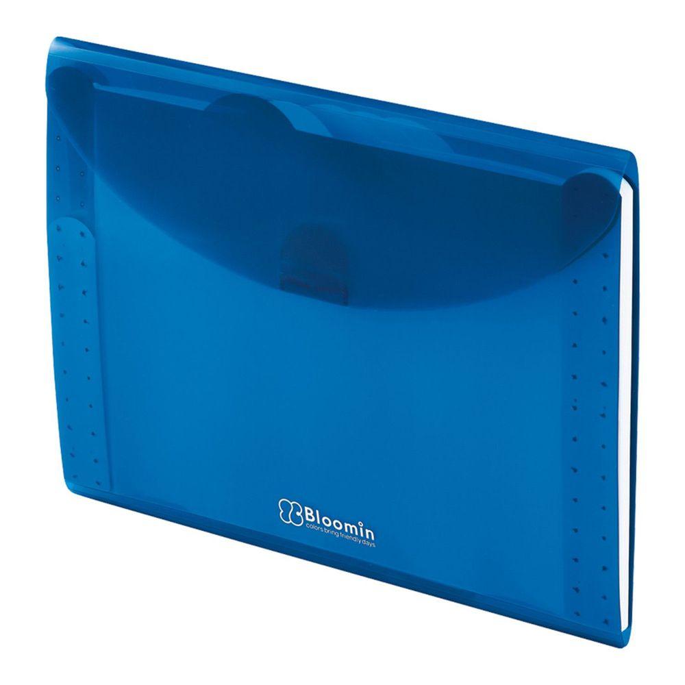 日本文具 LIHIT - 外扣五層分層資料袋-A4-寶石藍