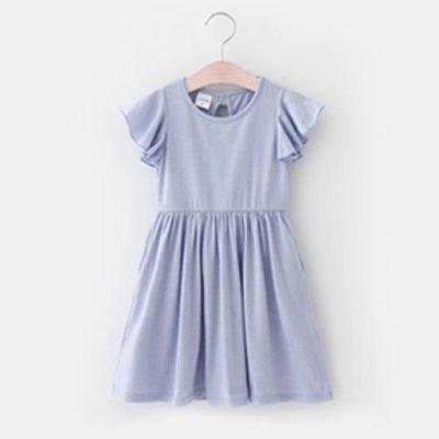 優雅荷葉袖連身裙-薰衣草紫