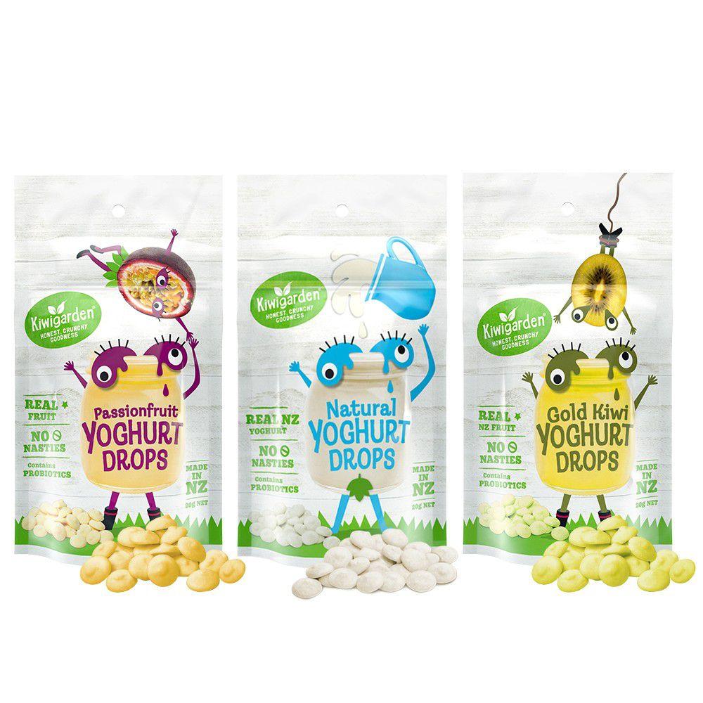 紐西蘭Kiwigarden - 益菌優格豆 原味+百香果+奇異果各1包 共3袋組-20g/袋