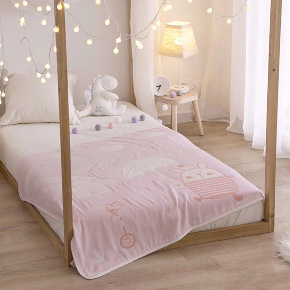 格蕾寢飾 Great Living - 義大利Fancy Belle六層紗兒童紗布被-可愛波波-粉 ((105*110CM))
