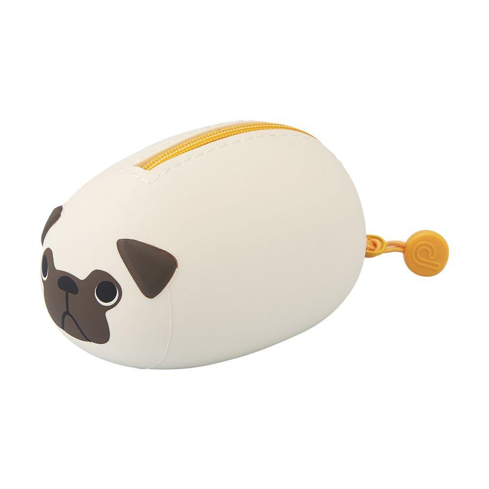 日本文具 LIHIT - 圓筒式胖胖收納包-哈巴狗 (S(5.5x9.8x6.5cm))