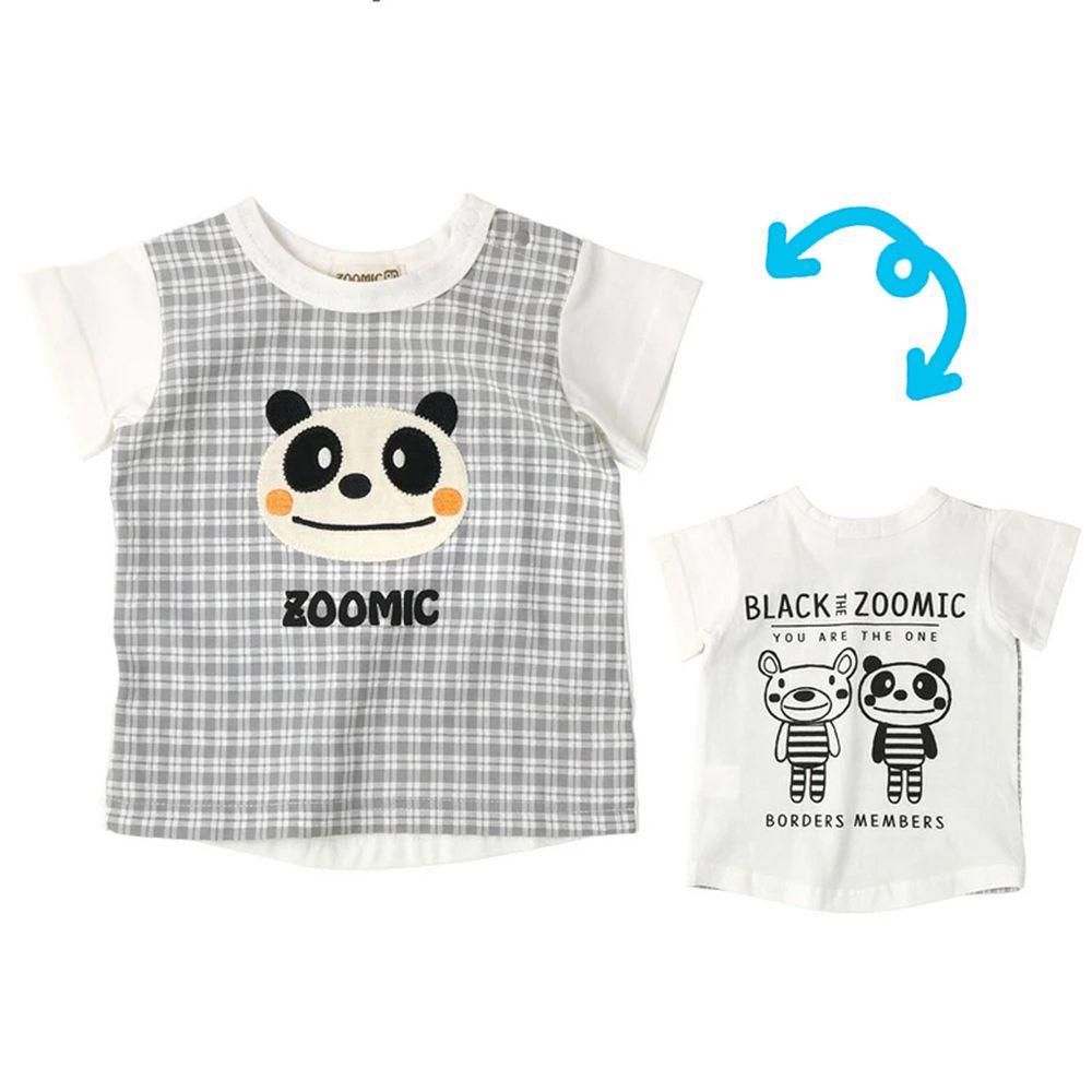 日本 ZOOLAND - 純棉印花拼接短T-熊貓大頭格紋-白灰