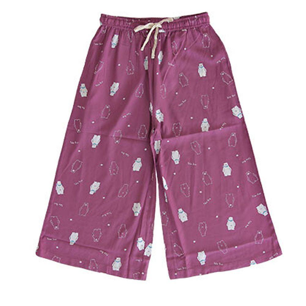 日本女裝代購 - COOL 涼感柔軟舒適家居長褲/睡褲-北極熊-紫 (M-L Free)