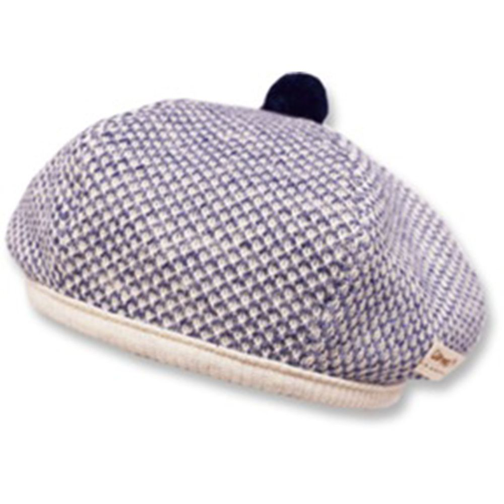 日本 Connect M - 可愛保暖帽-小童款-針織貝雷帽_藍灰色-03-1017