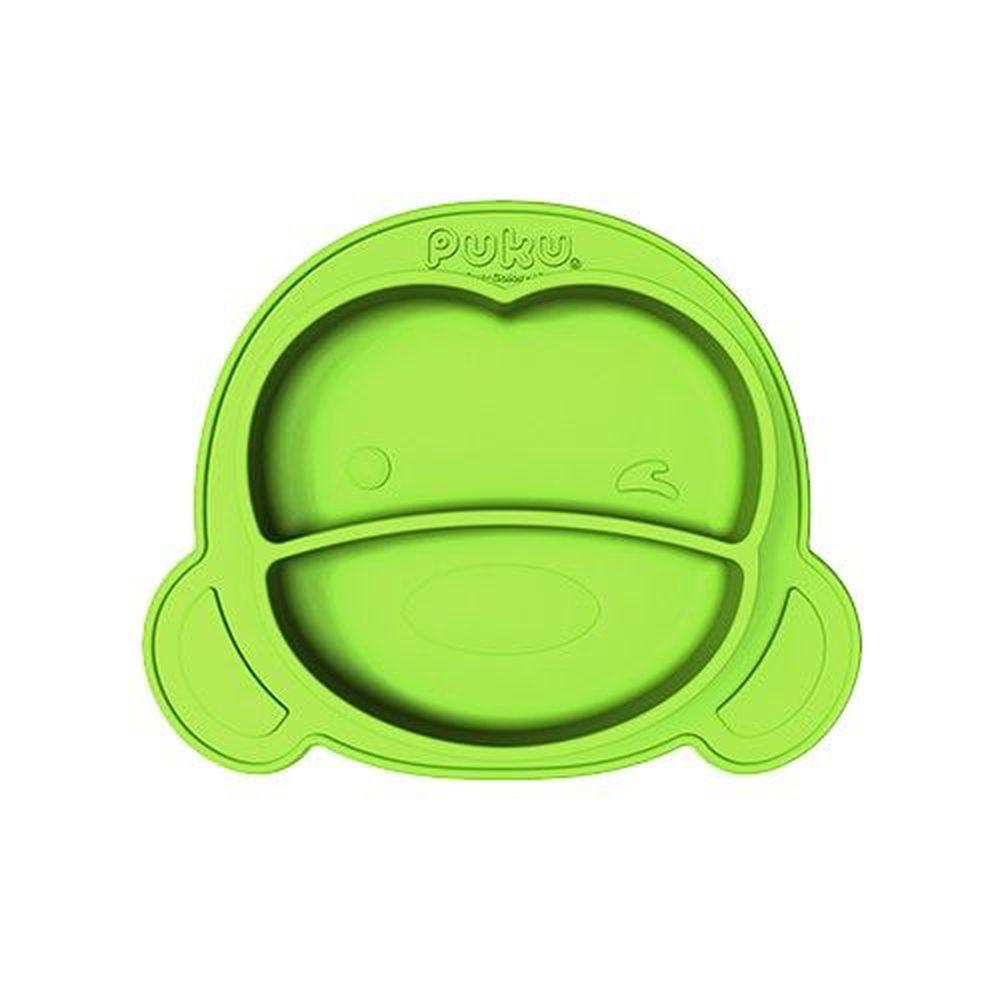 PUKU 藍色企鵝 - 矽膠防滑餐盤_萊姆綠-萊姆綠
