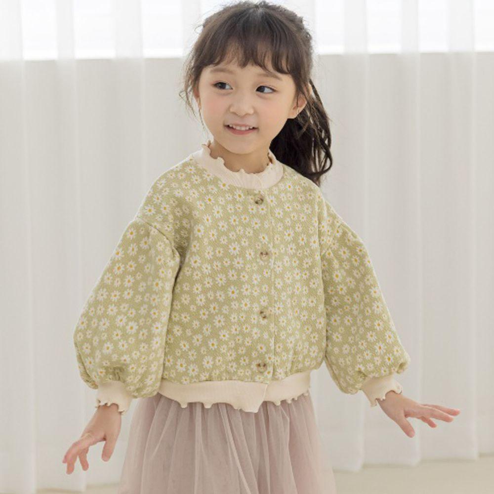 韓國 Orange Mom - 小雛菊泡泡袖針織外套-淺綠