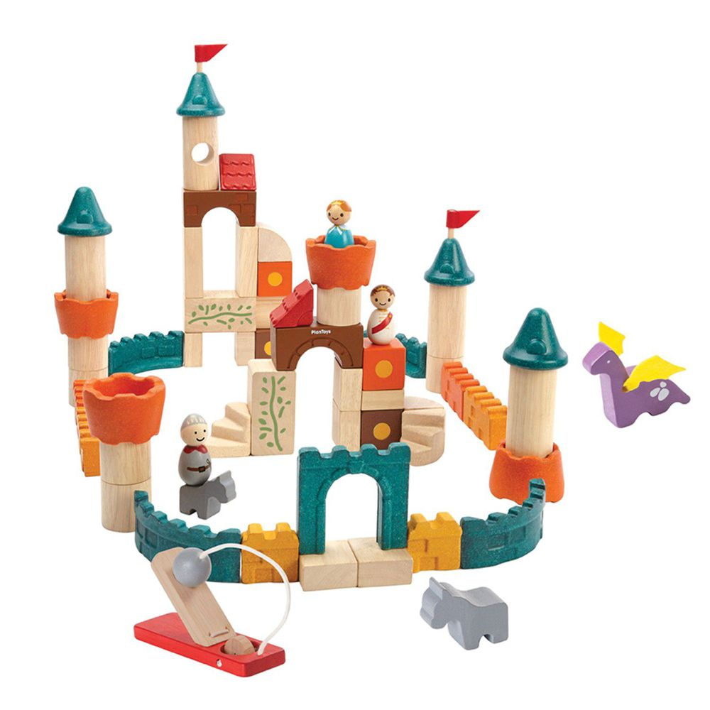 泰國 Plantoys - 飛龍城堡木質積木組(60件入)