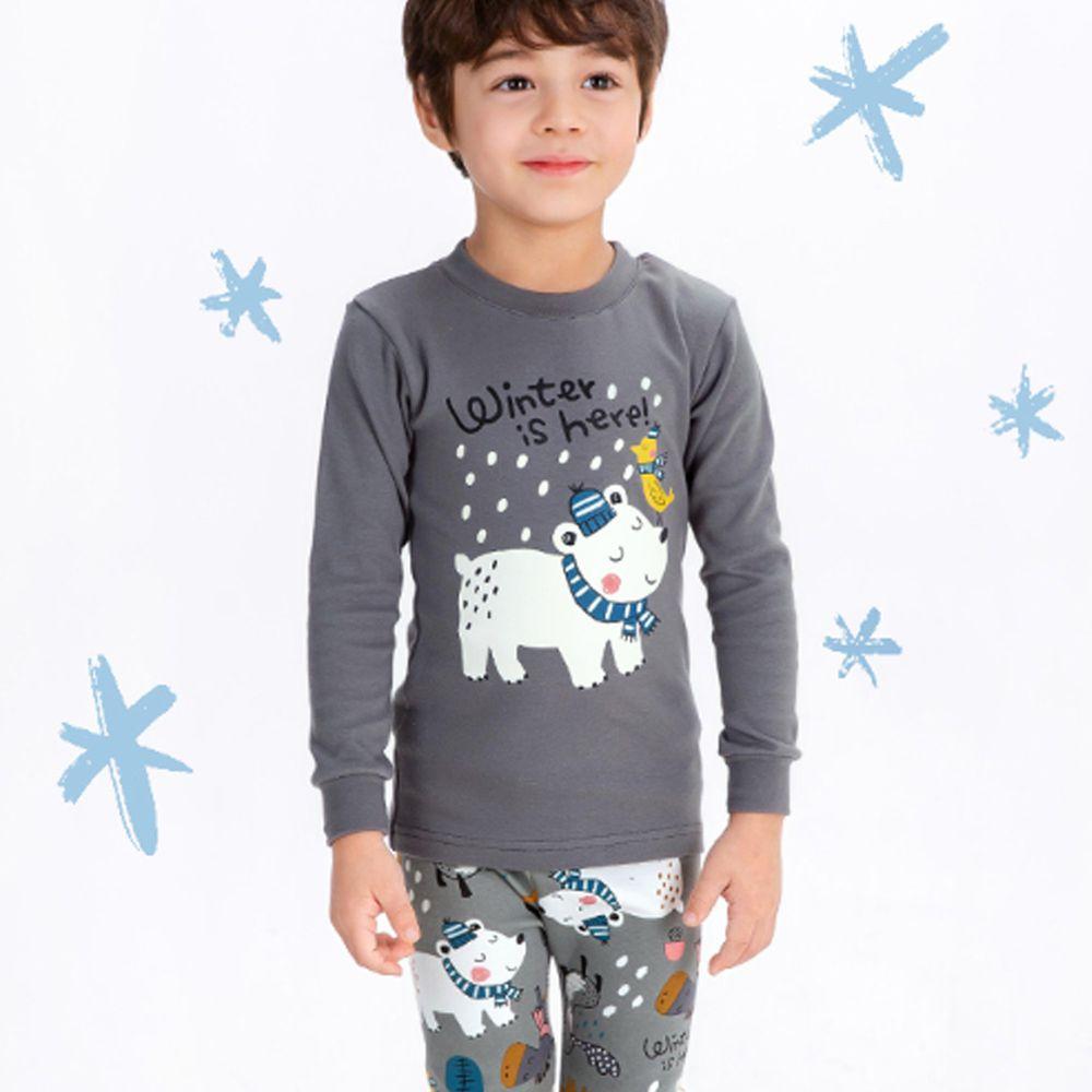 韓國 Mellisse - 韓製裏起毛無螢光棉長袖家居服-圍巾北極熊