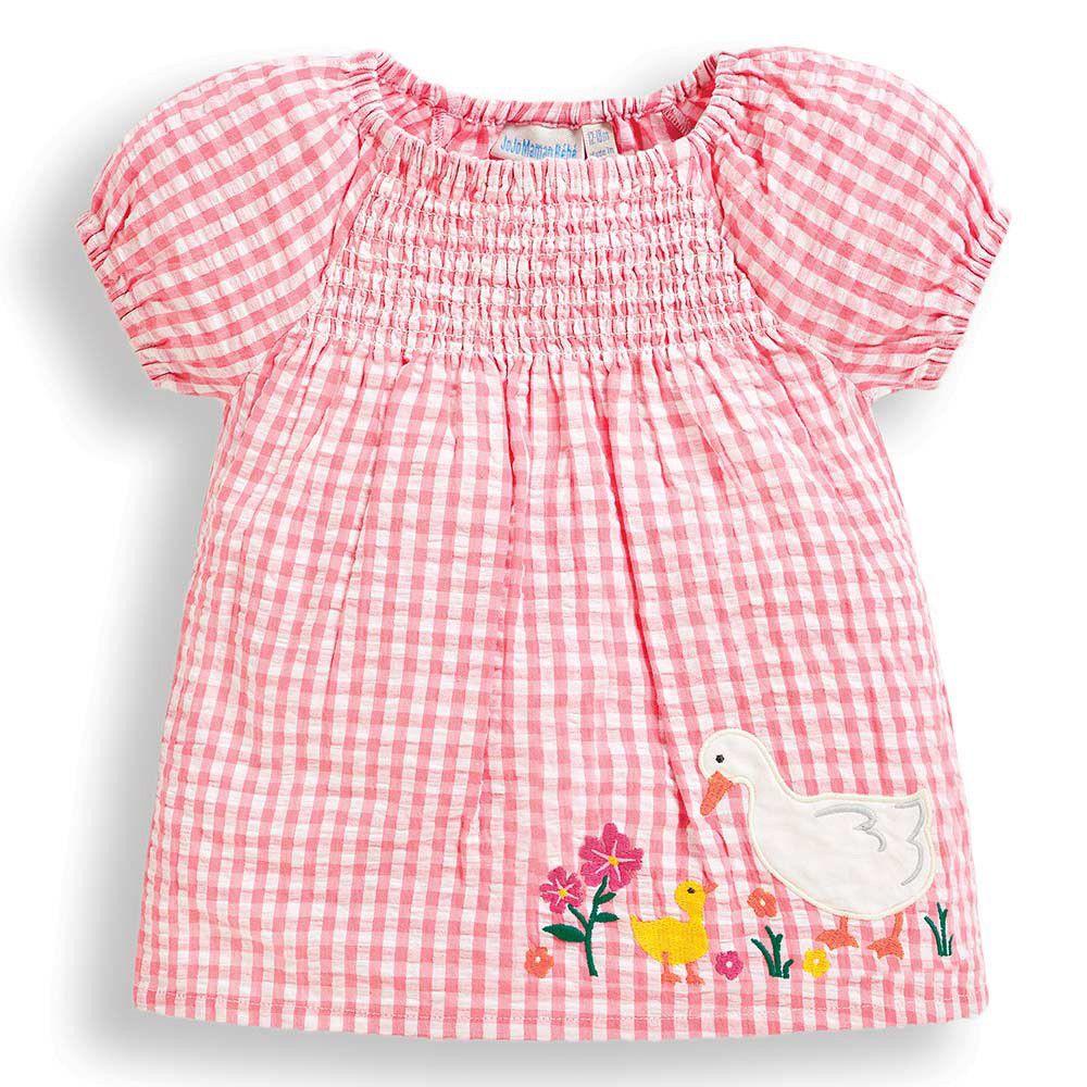 英國 JoJo Maman BeBe - 超優質嬰幼兒/兒童100% 純棉短袖上衣-白鴨玩耍