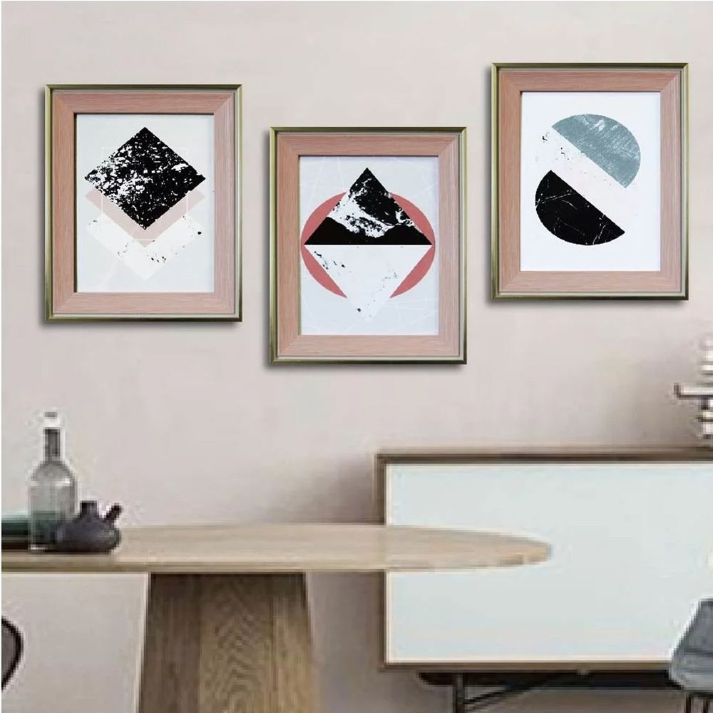 Tromso - 格調北歐金屬木紋8x10相框三入套組-粉紅時尚