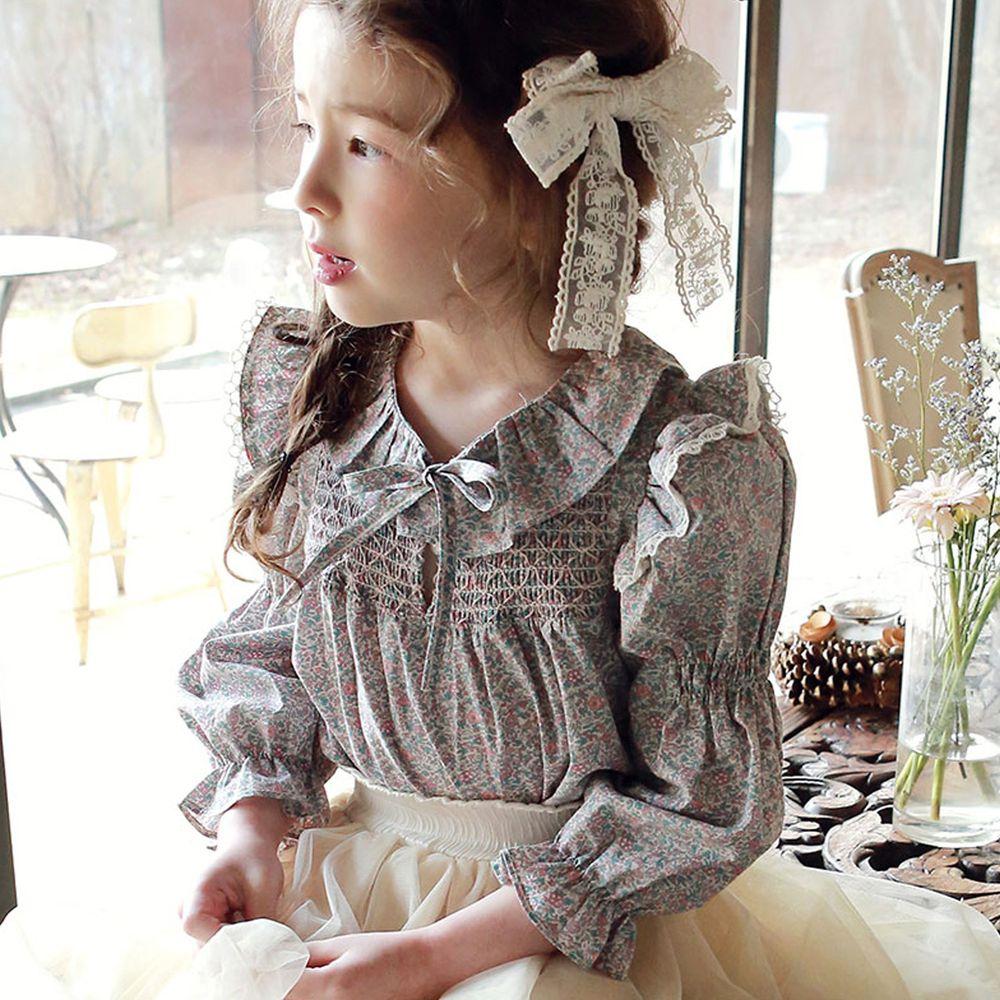 韓國 PuellaFLO - 抓皺荷葉泡泡袖上衣(無蝴蝶結,改鈕釦)-碎花