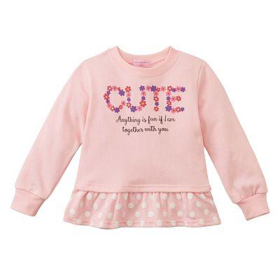 女孩CUTE荷葉下擺造型上衣-粉紅色系 (120)