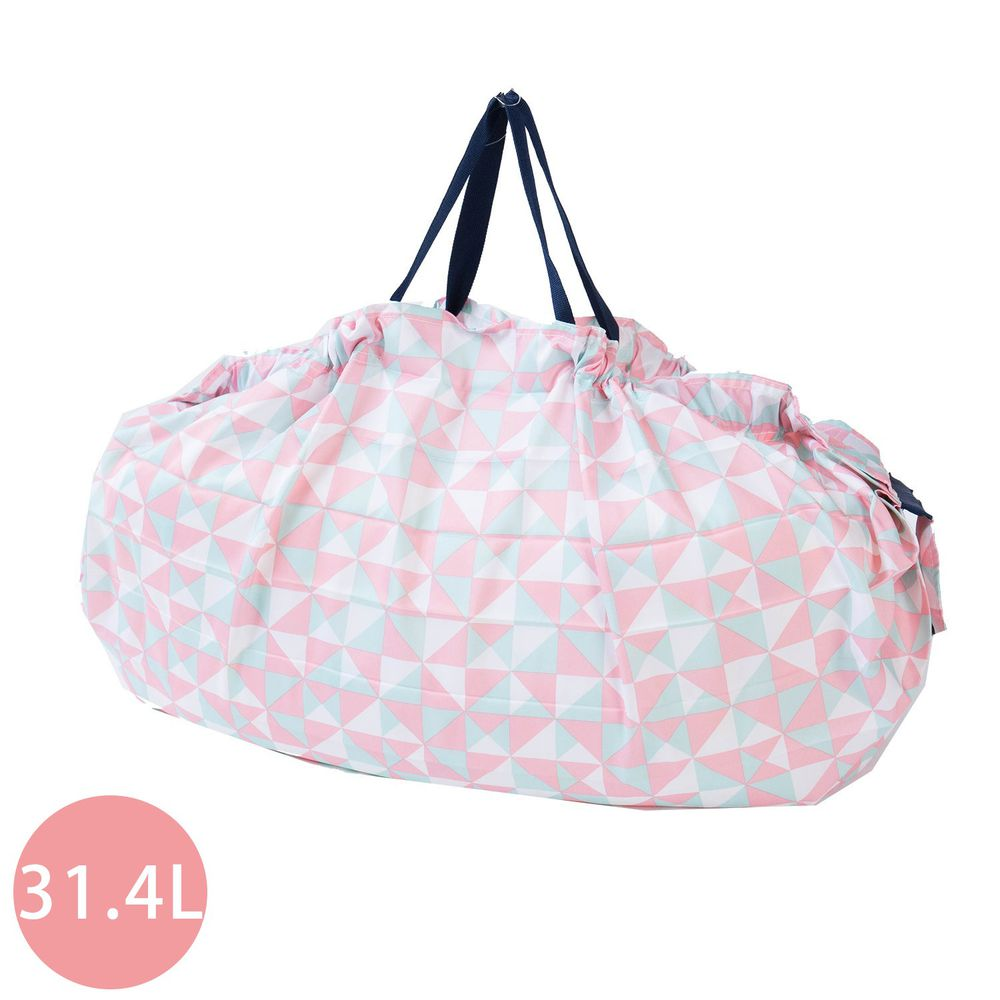 日本 MARNA - Shupatto 秒收摺疊購物袋(可掛購物籃)-粉色幾何 (L(50x38cm))-耐重15kg / 31.4L