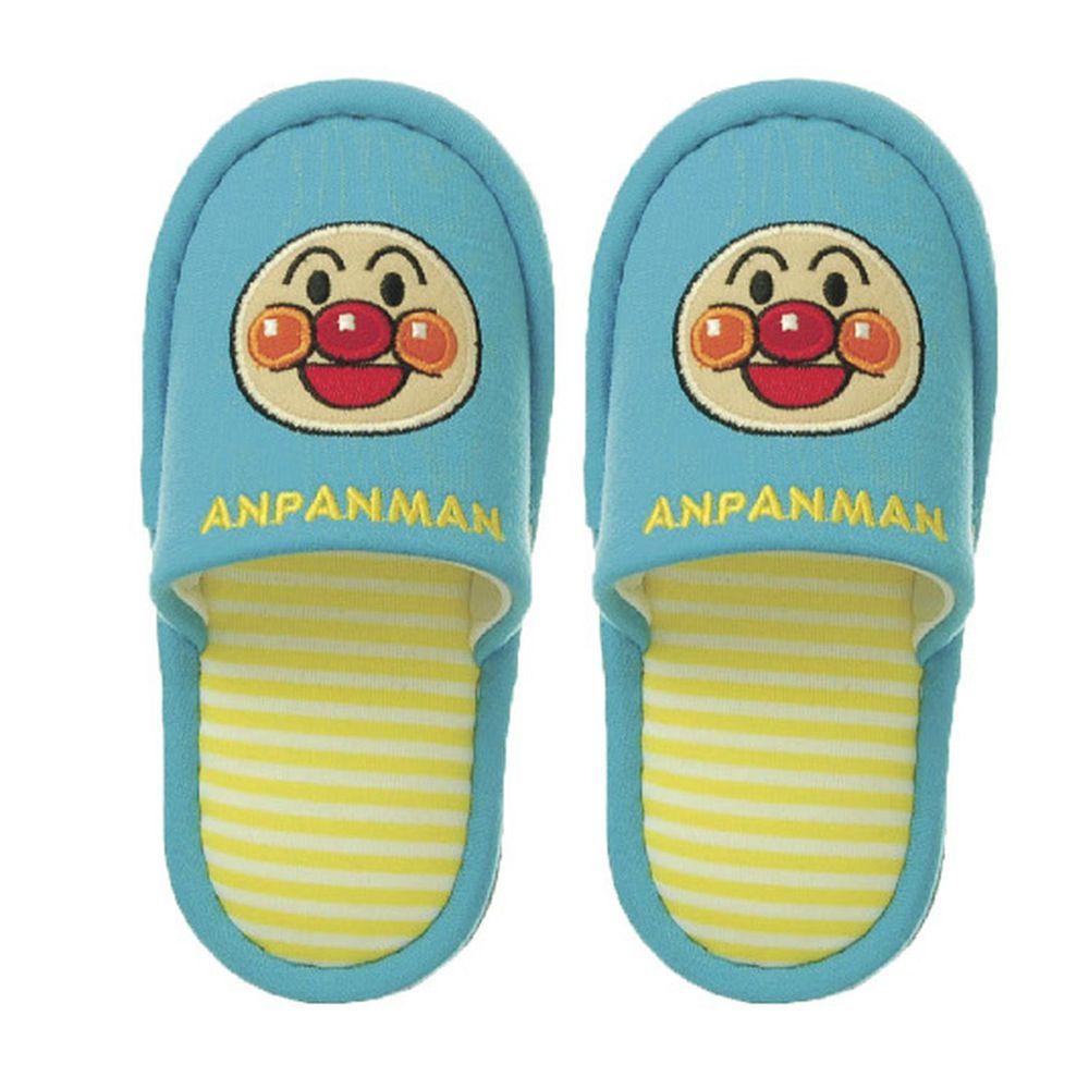 日本千趣會 - 兒童室內拖鞋-麵包超人-水藍 (14-16cm)