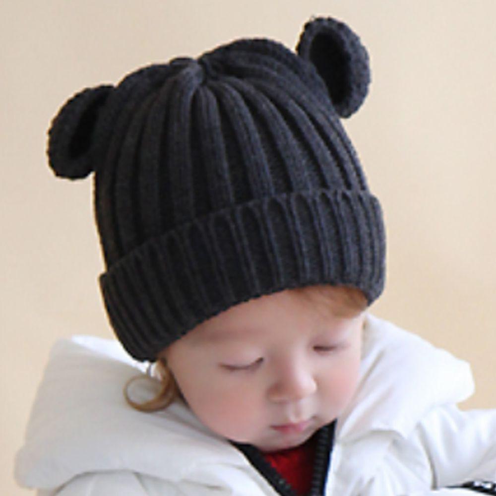 韓國 Babyblee - 小熊耳朵針織毛線帽-黑 (FREE)