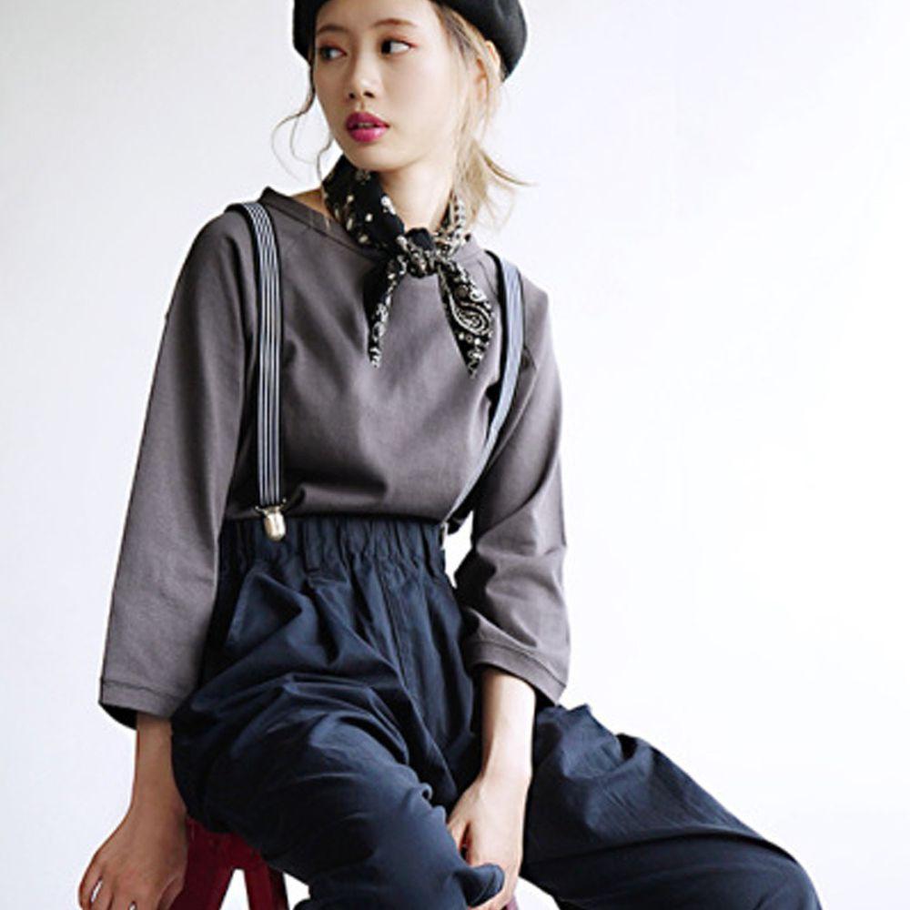 日本 zootie - [撥水/撥油加工] 抗油污耐洗純棉七分袖上衣-深灰